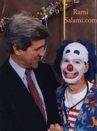 """The """"John Kerry"""" on the montage originally come from this picture with Rami Salami the clown."""